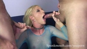 Hot Blonde Alexa Lynn sucks two cocks and gets a cum facial