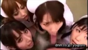 Japanese Blowjob Harem 4 Mouths to Feed 1 Cock