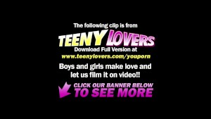 Teeny Lovers - Blonde teases clit during sex