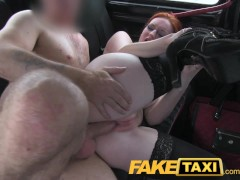 FakeTaxi Red head with big natural tits hopes for easy cash.