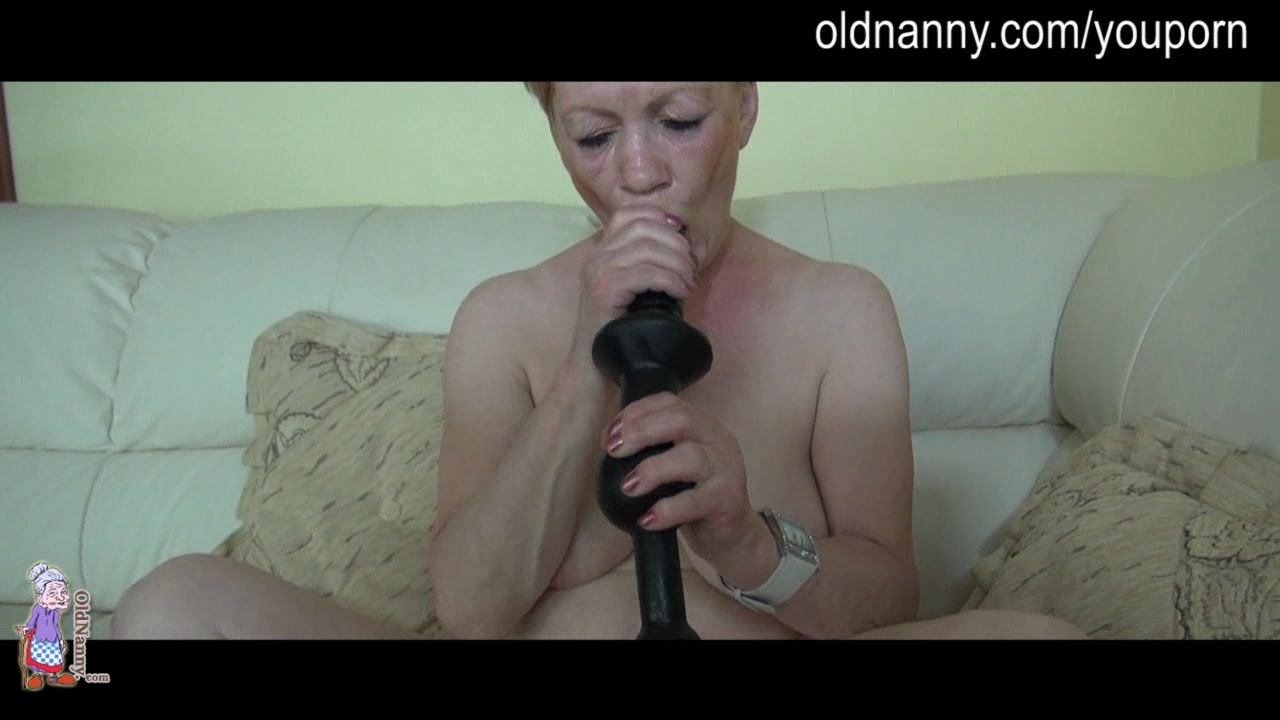 Granny slut fucking girl with special toy