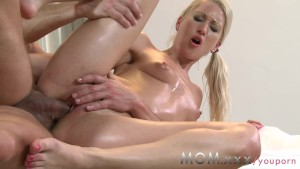 MOM Blonde MILF rubs more than just his back