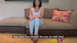 FakeAgentUK Webcam girl takes hard cock and mouth full of cum in casting