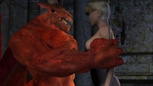 Demon with a big dick fucks a young blonde