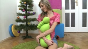 Blonde teen girl with very small tits gets her tight asshole fucked by Santa