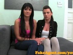 FakeAgent Young bi-girlfriends fight one stays for my cock
