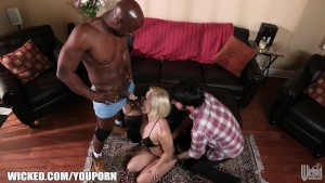 Cuckold husband shares his wife with a well hung black dude