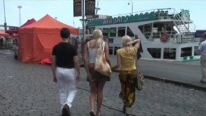 scandi threesome in public