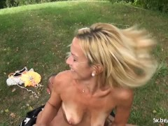 Picture Blonde mature Angelique fucked outside