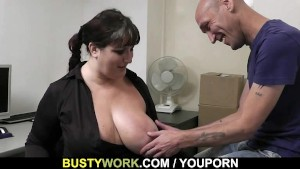 BBW takes it hard from behind by co worker