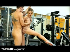 FantasyHD Sexy trainer rides cock in the gym