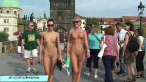 Crazy Leonelle And Laura Naked On Public Streets