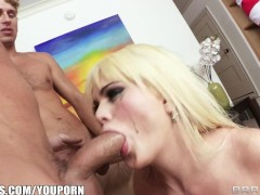 Big tit blond cop gets gangbanged breaking up a Halloween party