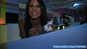 PublicAgent Beautiful brunette barmaind gets fucked behind the bar