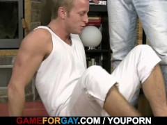 Picture He is easily seduced hunk couch