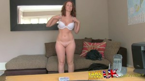 FakeAgentUK Attractive redhead gets surprise creampie in fake casting