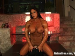 Aziani Iron Amber Deluca rides the sybian sex toy