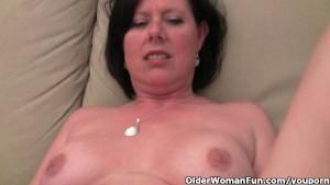 Mature mom with big tits and hairy pussy masturbates