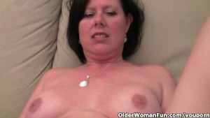 Mature mom with big tits and hairy pussy masturbates