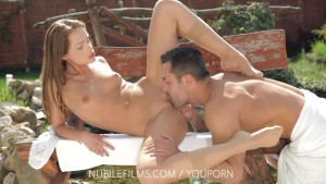 Nubile Films - Petite babe Sophie Lynx gets a mouthful of sperm