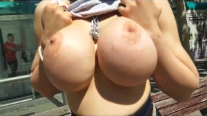 Marta La Croft shows her Big Boobs in public before getting fucked