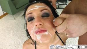 Aletta Ocean bukkaked by five massive cumshots left dripping in cum