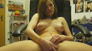 Hot College Girl Touching Herself On Office Chair