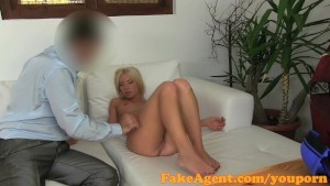 FakeAgent Blonde hottie milks big cock in casting