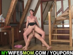 Cock hungry woman seduces her son in law