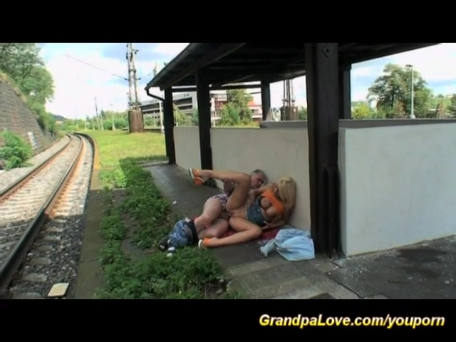 grandpa fuck young chick at the trainstation