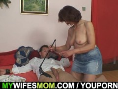 Wife leaves and she fucks her tied up son-in-law