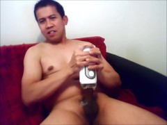 hunk guy jacking off with a tenga fliphole