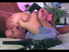 Sexy babe anal sex in boots and latex lingerie