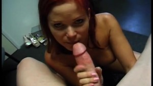 hot redhead amateur sucks and fucks in the office
