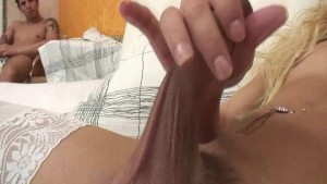 Blonde Tranny Cums Getting Rammed