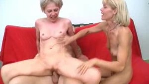 Two Horny Grannies Share A Cock