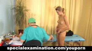 Blonde teen gets gyno exam