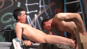 Two guys in a back-alley get it on - Street Trade Studios