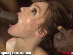 Redhead Teen DPd by Big Black Cocks