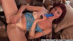 Granny with hard nipples and hairy pussy masturbates