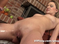 Fresh piss shooting from her fucked ass
