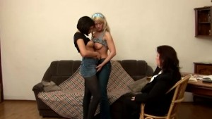 Two innocent teen students came to their naughty fat teacher to become lesbians