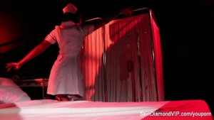 Creepy-Sexy nurse Skin Diamond dances and teases