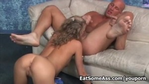 Hot blonde Desire Moore licks stranger Ass for cum in mouth