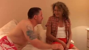 Horny old spunker Ivy fucks a lucky younger guy