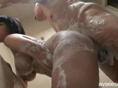Japanese Girl Titjob and Blowjob for Older Man in Bathroom