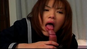 Scrumptious school girl Sana Yosizaki sucking cock uncensored.