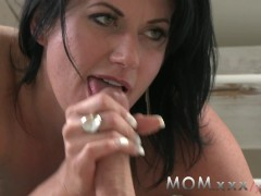 MOM Mature dark haired MILF can't get enough Cock