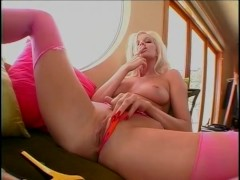 Tall Blonde Goddess Rips Off Her Stockings