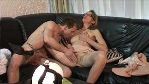 Blonde MILF Gets Pounded Into The Leather Couch - Telsev
